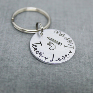 Love Teach Inspire key chain, Teacher gift