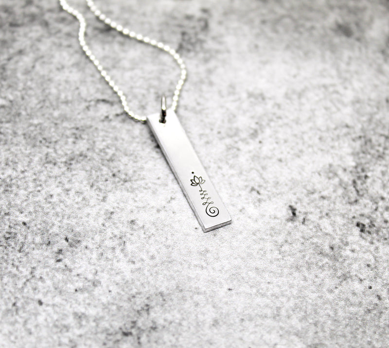 Unalome bar necklace, Yoga necklace