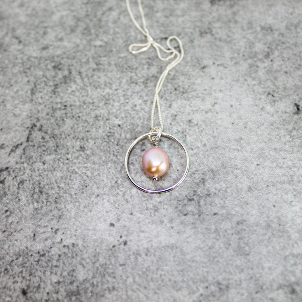 Off white pearl bridesmaid necklace, Sterling silver circle and pearl necklace