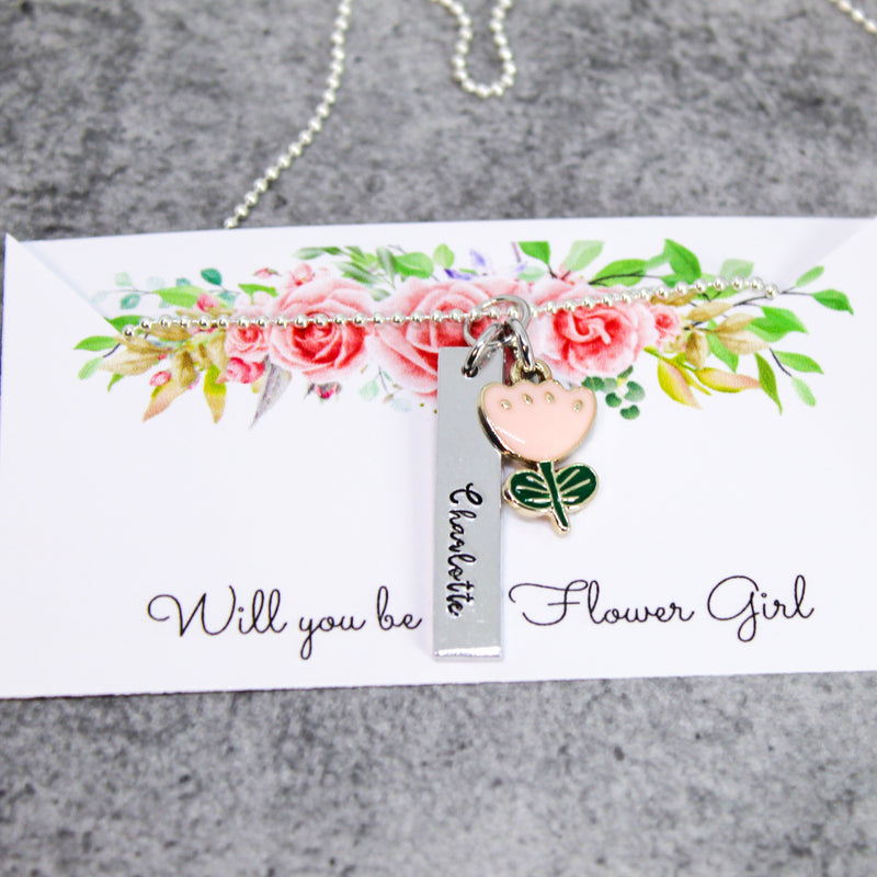 flower girl proposal necklace