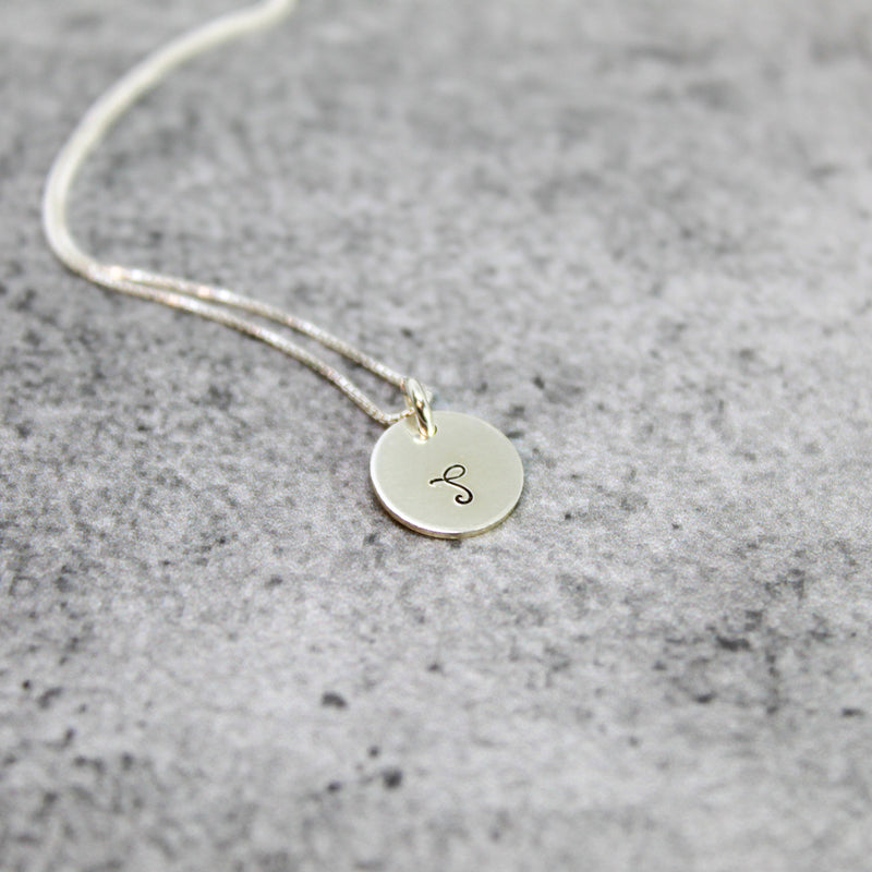 tiny sterling silver initial necklace