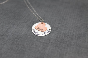 sterling silver and copper personalized necklace for Mom