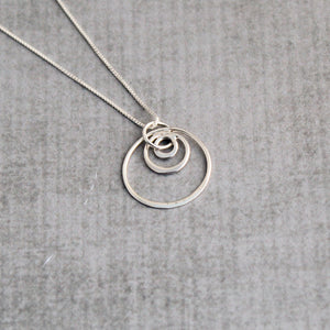 Sterling silver triple circles geometric minimalist necklace