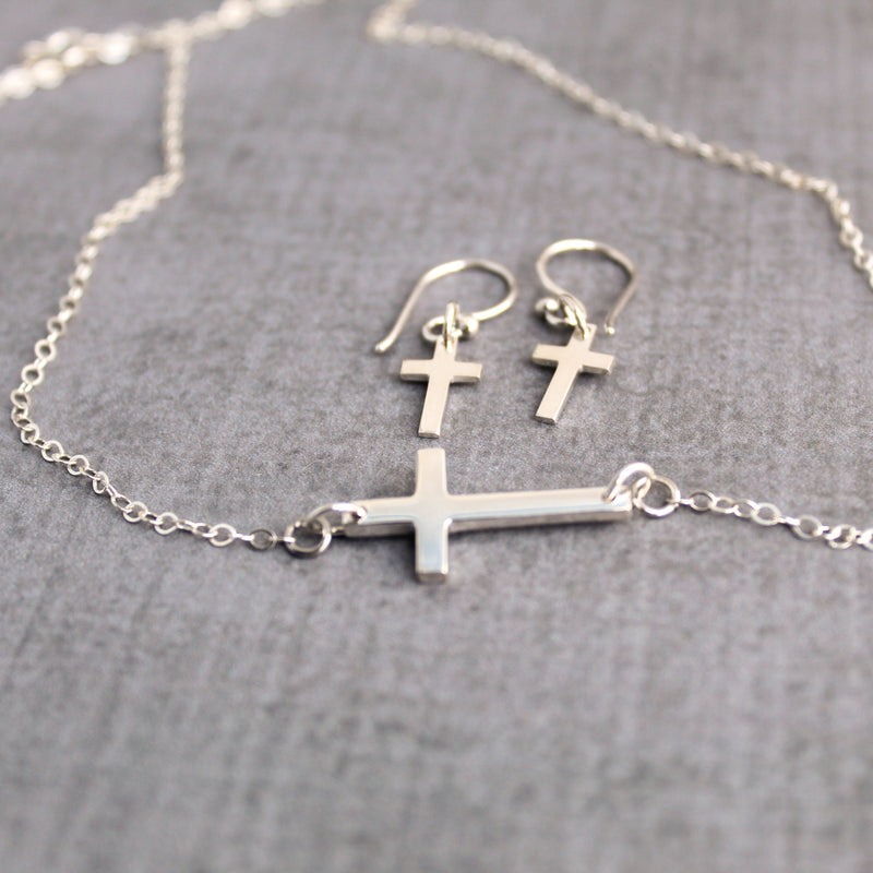 Sterling silver sideways cross necklace and earrings set