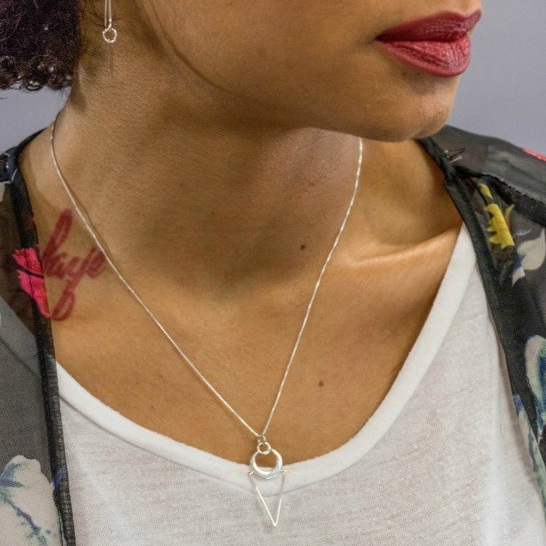 Crescent and triangle geometric minimalist necklace