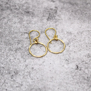 Gold circle earrings, gold hammered earrings