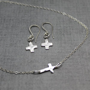 Sterling silver hammered cross earrings