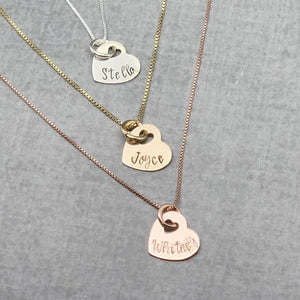 Personalized Heart Initial necklace, sterling silver, gold, rose gold