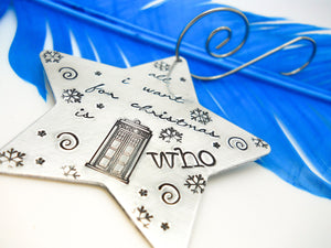 Doctor Who inspired Star Christmas Ornament, flat lay