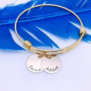 Gold Personalized Name Bangle Bracelet