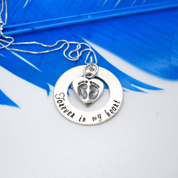 Forever in my heart memorial necklace, baby feet necklace - Delena Ciastko Designs