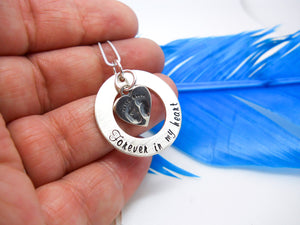 Forever in my heart memorial necklace, baby feet necklace - Sweet Tea & Jewelry