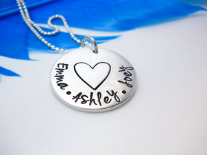 Mothers Personalized Necklace with large heart - Sweet Tea & Jewelry