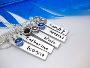 Personalized Bar Name Necklace, Aluminum, multiple examples