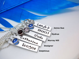 Personalized Bar Name Necklace, Aluminum, lettering examples