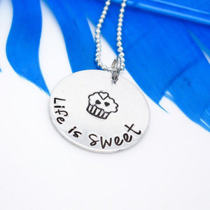 Life is Sweet Cupcake Necklace | Hand Stamped Necklace
