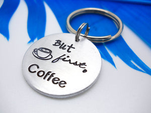 But First, Coffee Keychain, flat lay