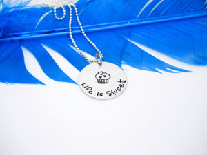 Life is Sweet Cupcake Necklace | Hand Stamped Necklace, Flat Lay