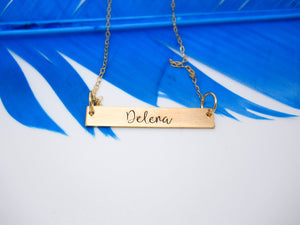 Name Plate Necklace, Gold Bar Necklace - Sweet Tea & Jewelry