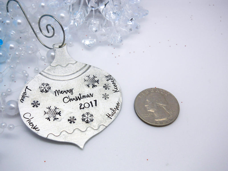Pewter personalized vintage Christmas ornament