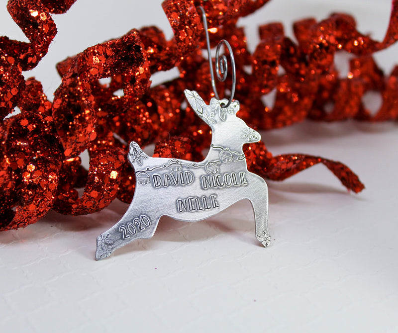 Personalized reindeer Christmas ornament with bells