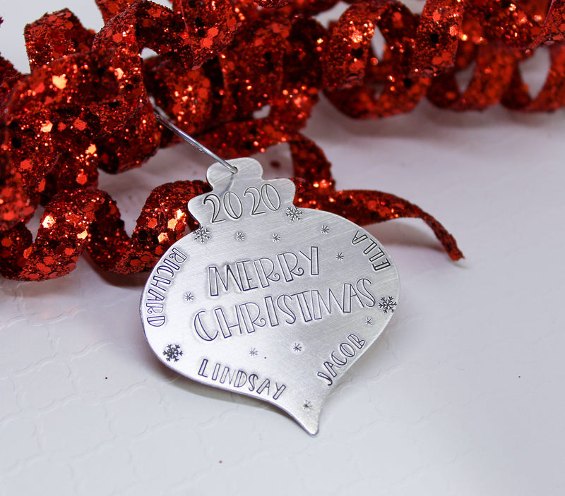 Vintage personalized Christmas bulb ornament