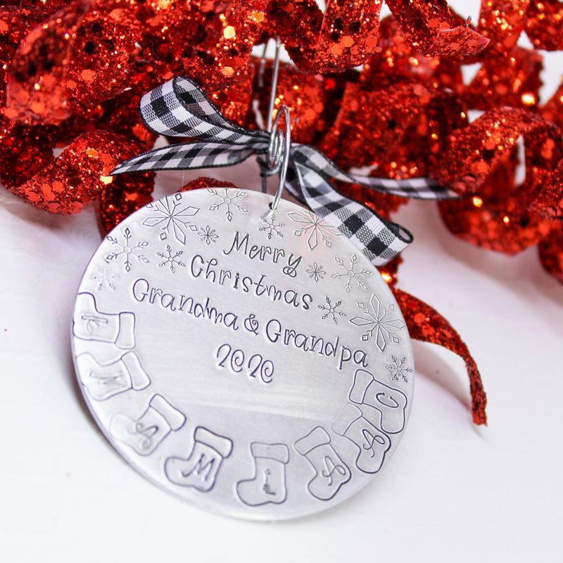 Grandkids names ornament, Initial stockings ornament