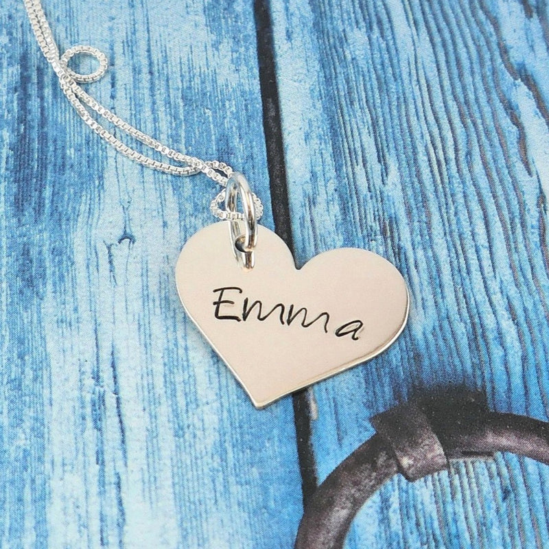 Personalized sterling silver classic heart necklace - Delena Ciastko Designs