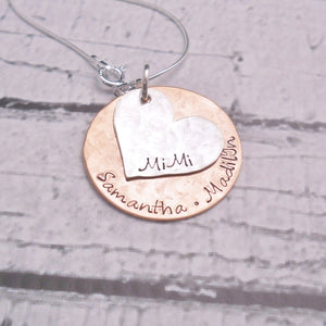 Sterling silver and copper mother's necklace, heart necklace - Sweet Tea & Jewelry