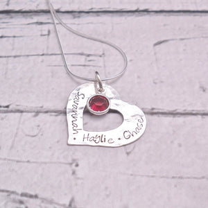 Textured Sterling Silver Personalized Heart Necklace