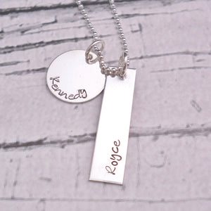 Sterling silver mothers Personalized Necklace with disc and bar - Sweet Tea & Jewelry
