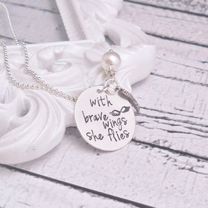 Sterling silver With brave wings she flies necklace - Sweet Tea & Jewelry