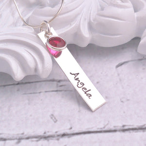 Hand Stamped Bar Name Necklace in Sterling Silver - Sweet Tea & Jewelry