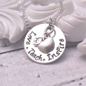 Love Teach Inspire Teacher necklace - Sweet Tea & Jewelry