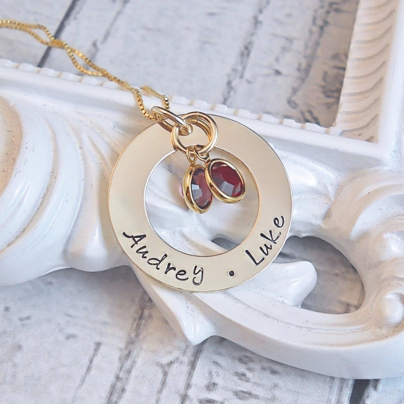 Gold name necklace, Personalized Mothers Necklace, Hand Stamped Washer Necklace - Delena Ciastko Designs
