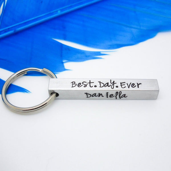 Personalized Bar Key chain, 4 sided key chain