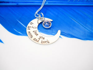 Sterling silver I love you to the moon and back, Crescent Moon Necklace - Sweet Tea & Jewelry