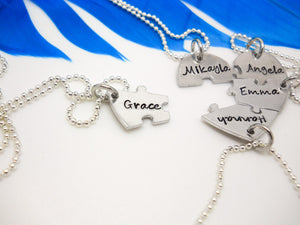 Best Friends Heart Puzzle Necklace 5 Piece Set, one piece removed