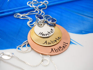 Sterling silver, copper and brass layered kids names necklace with birthstones - Sweet Tea & Jewelry