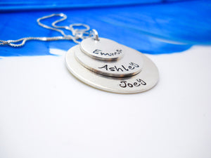 Sterling silver Mom necklace with kids names, personalized family necklace - Delena Ciastko Designs