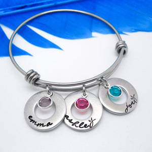 Mother's Personalized Bangle Bracelet, Personalized Kids Names Bracelet - Sweet Tea & Jewelry