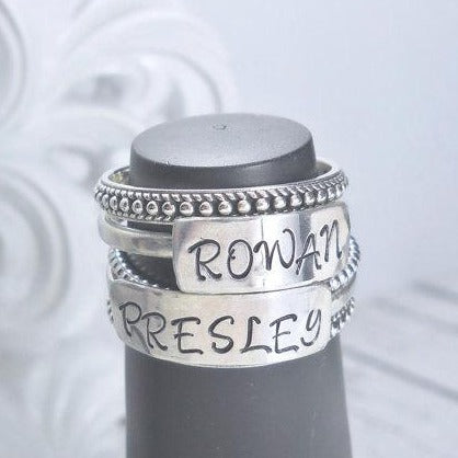 Personalized bar name ring, Personalized Mother's Ring, stacking ring, Sterling silver name ring - Sweet Tea & Jewelry