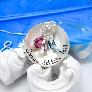 Sterling Silver Cupped Mothers Necklace With Kids Names