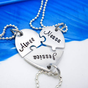 3 Best Friends Puzzle Piece Necklace Set
