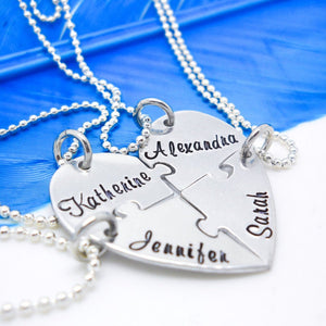 4 Piece Puzzle Heart Necklace Set