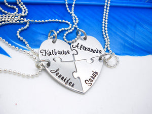 4 Piece Puzzle Heart Necklace Set, different angle