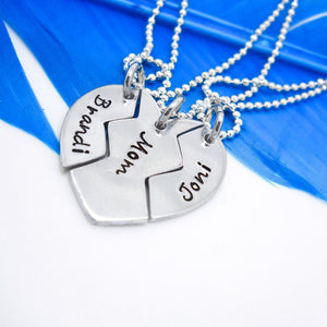 3 Piece Broken Heart Best Friends Necklace Set