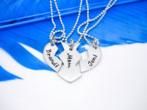 3 Piece Broken Heart Best Friends Necklace Set - Separated