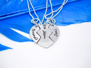 3 Piece Broken Heart Best Friends Necklace Set - Flat Lay