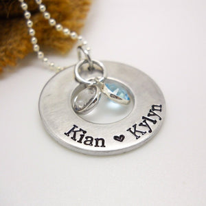 Personalized Mom Necklace with floating birthstones, washer necklace - Sweet Tea & Jewelry